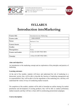 Introduction intoMarketing