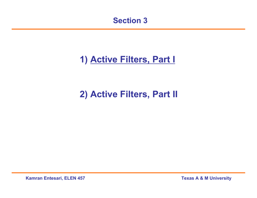1 Active Filters Part I 2 Ii High Q Notch Filter With Twin T Network