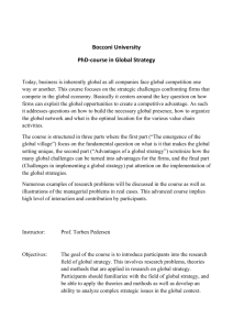 Bocconi University PhD-course in Global Strategy