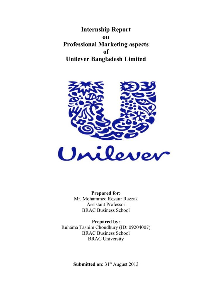 Internship Report on Professional Marketing aspects of Unilever