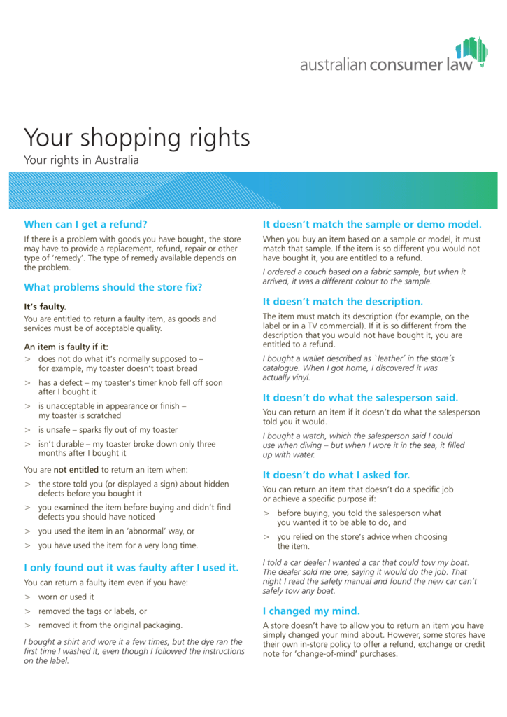Your Shopping Rights