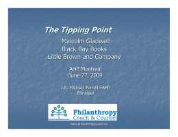 The Tipping Point - Philanthropy Coach and Counsel