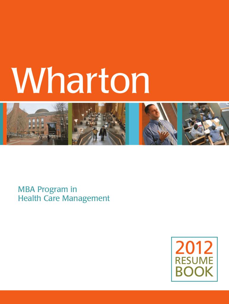 Resume Book 2012 Health Care Management Department