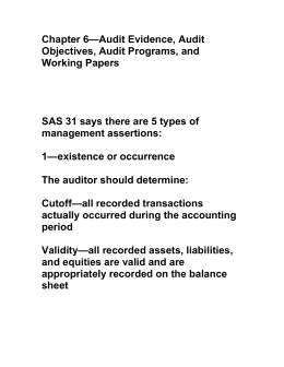Chapter 6—Audit Evidence, Audit Objectives, Audit Programs, and