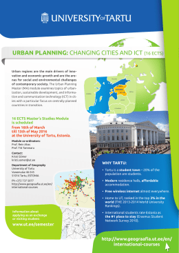 URBAN PLANNING: CHANGING CITIES AND ICT (16 ECTS)