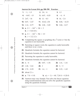 Algebra Review Worksheet On Quadratics