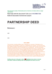 Partnership Deed - Kalde & Associates