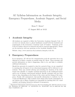 AU Syllabus Information on Academic Integrity, Emergency
