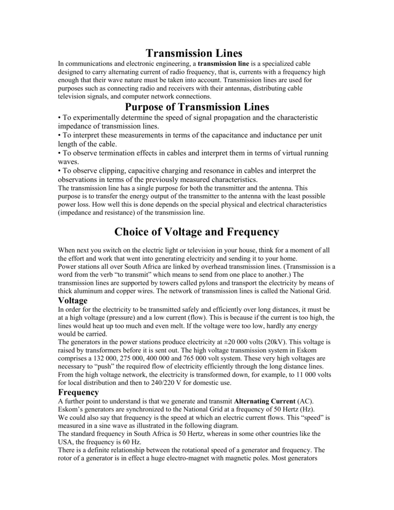 Transmission Lines Choice of Voltage and Frequency