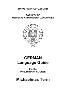 GERMAN Language Guide Michaelmas Term