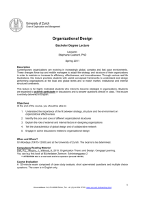 Organizational Design - Department of Business Administration