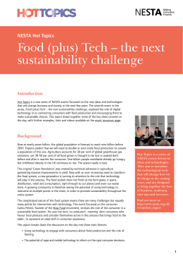 Food (plus) Tech – the next sustainability challenge