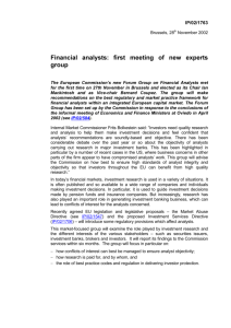 Financial analysts: first meeting of new experts group