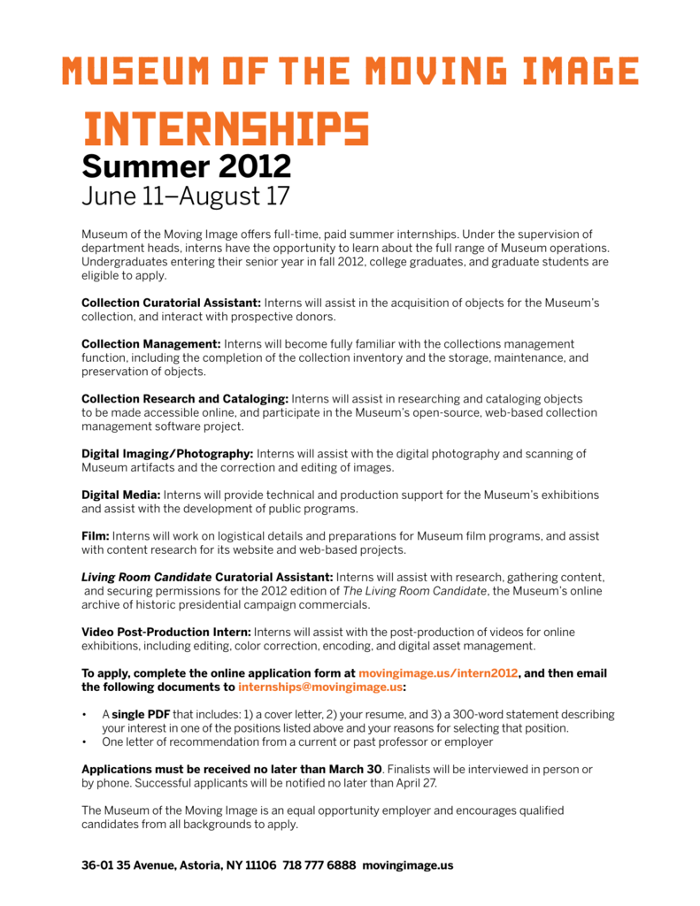 MMI Summer 2012 Internship