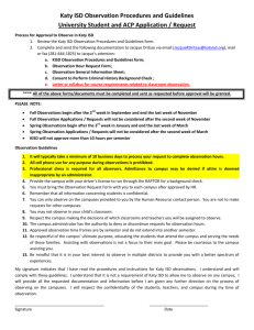 Katy ISD Observation Procedures and Guidelines University Student