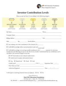 Investor Contribution Levels - Katy ISD Education Foundation