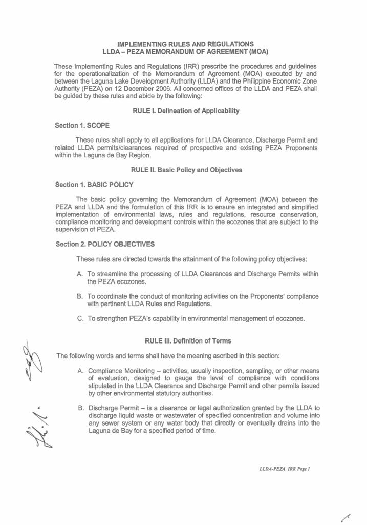 Memorandum Of Agreement Between Peza And Llda