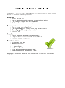 NARRATIVE ESSAY CHECKLIST