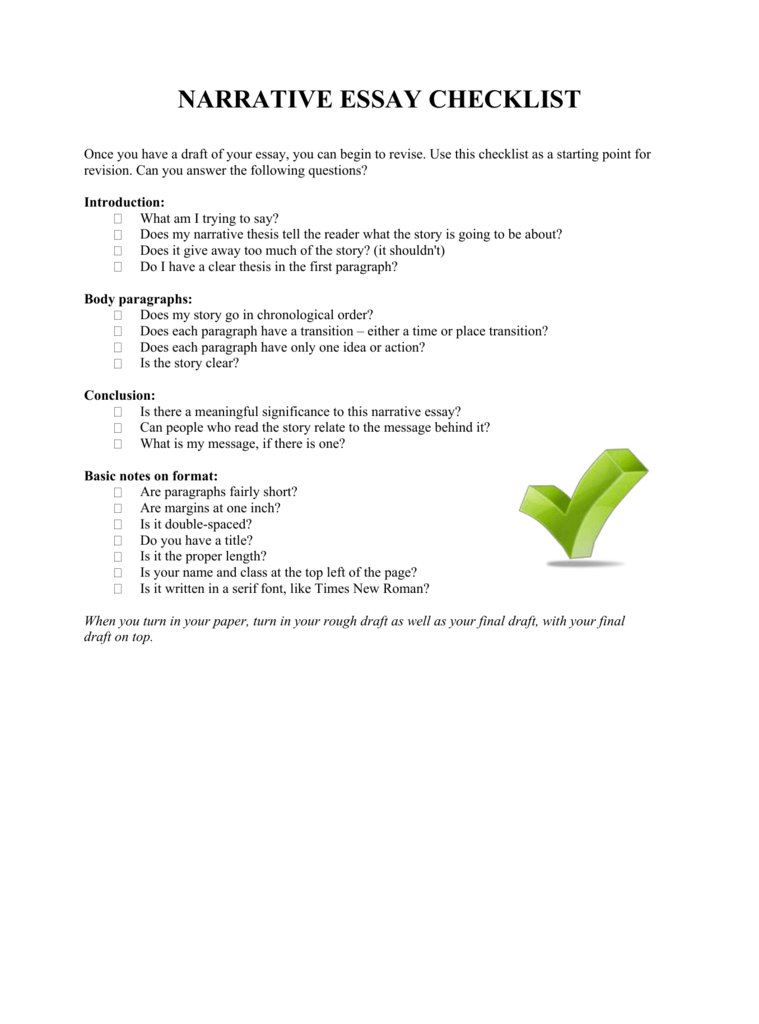 Narrative Essay Checklist Edafeddfabcbbdpng