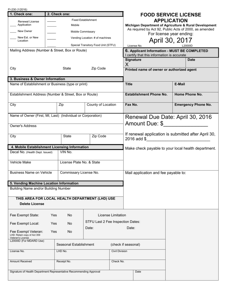 Food License Application - Genesee County Health Department