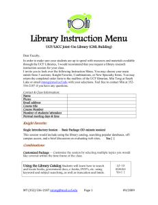 Library Instruction Menu - UCF/LSCC Joint