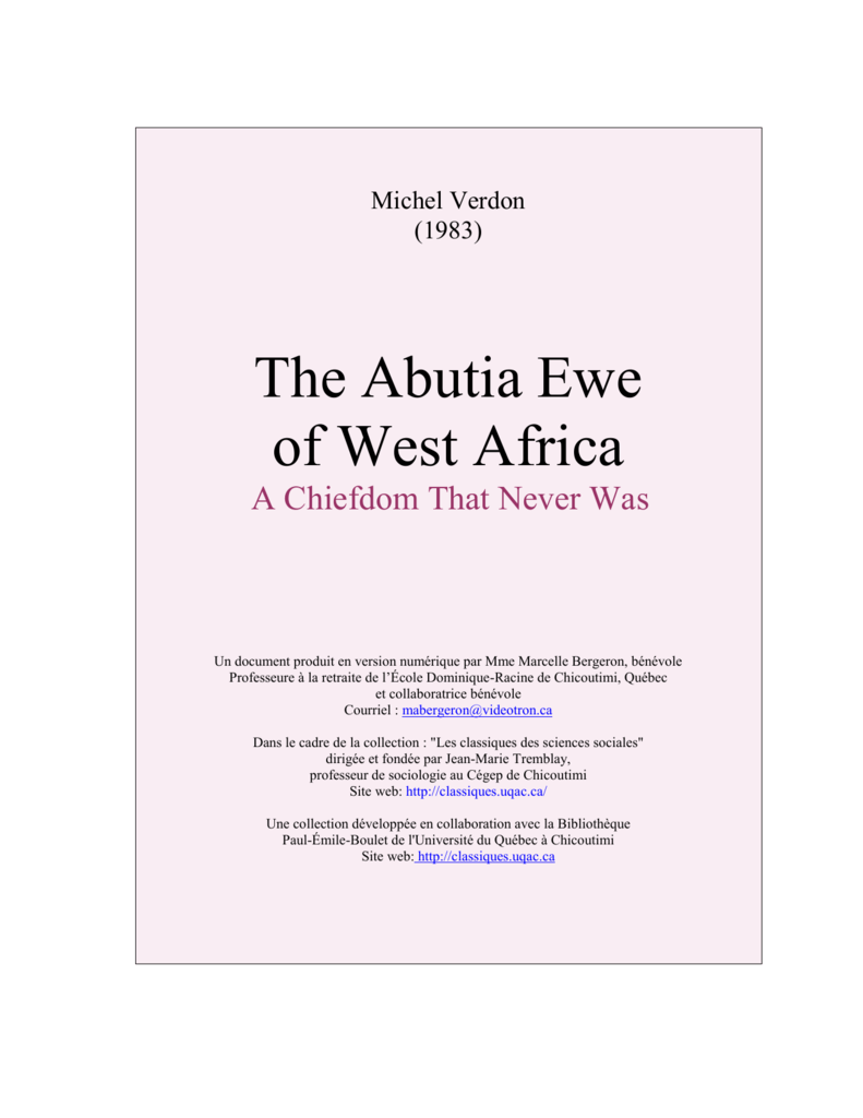 The Abutia Ewe of West Africa  A Chiefdom That Never Was
