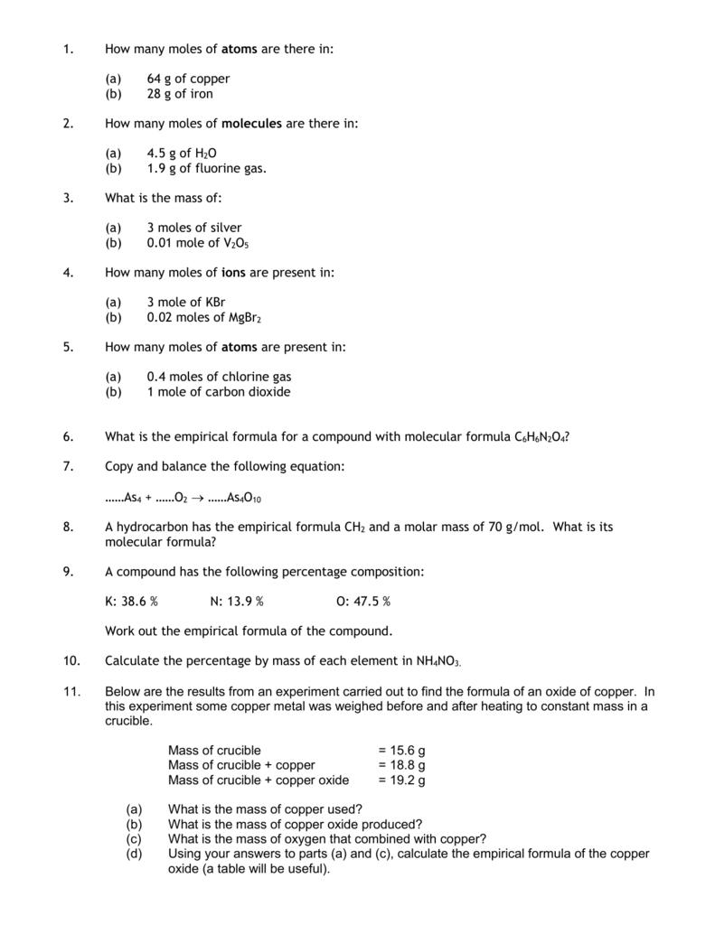 worksheet Mole Review Worksheet Answers grade 10 chemistry stoichiometry test moles