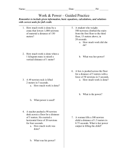 Work & Power Worksheet