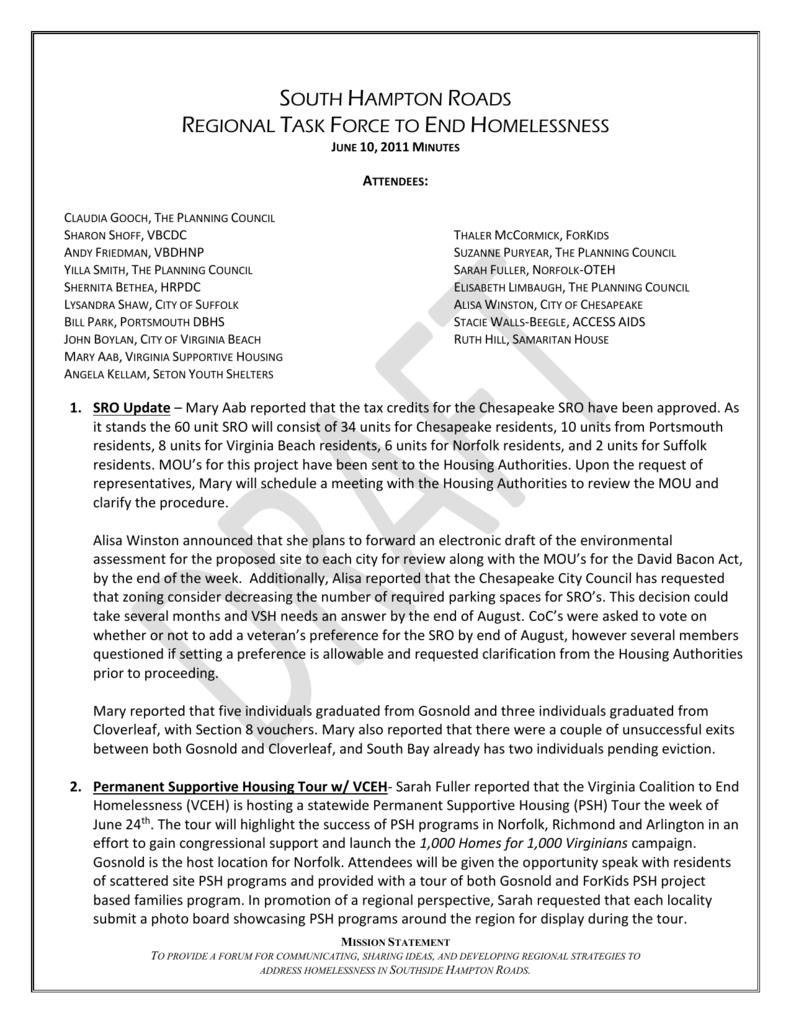 South Hampton Roads Regional Task Force to End Homelessness