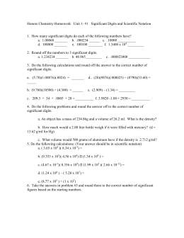 Honors Chemistry Homework Significant Digits