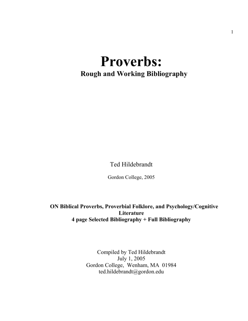 1227a935d8122b Proverbs--A Rough and Working Bibliography