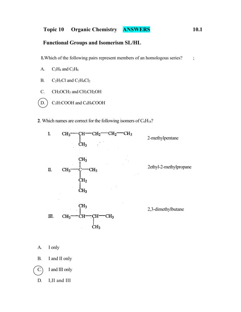 Topic 11 Organic Chemistry