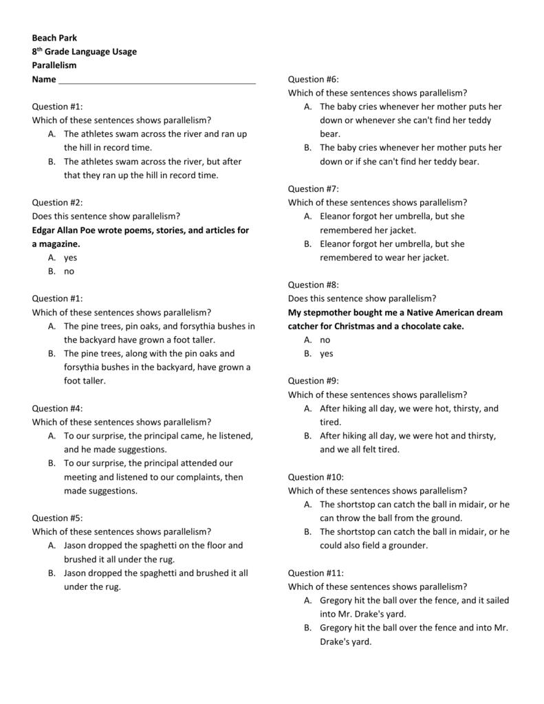 Beach Park 8th Grade Language Usage Parallelism Name Question
