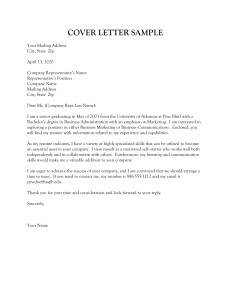 Cover Letter Sample - University of Arkansas at Pine Bluff