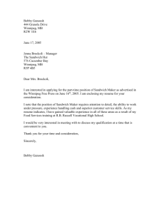 Cover Letter Example - Winnipeg School Division