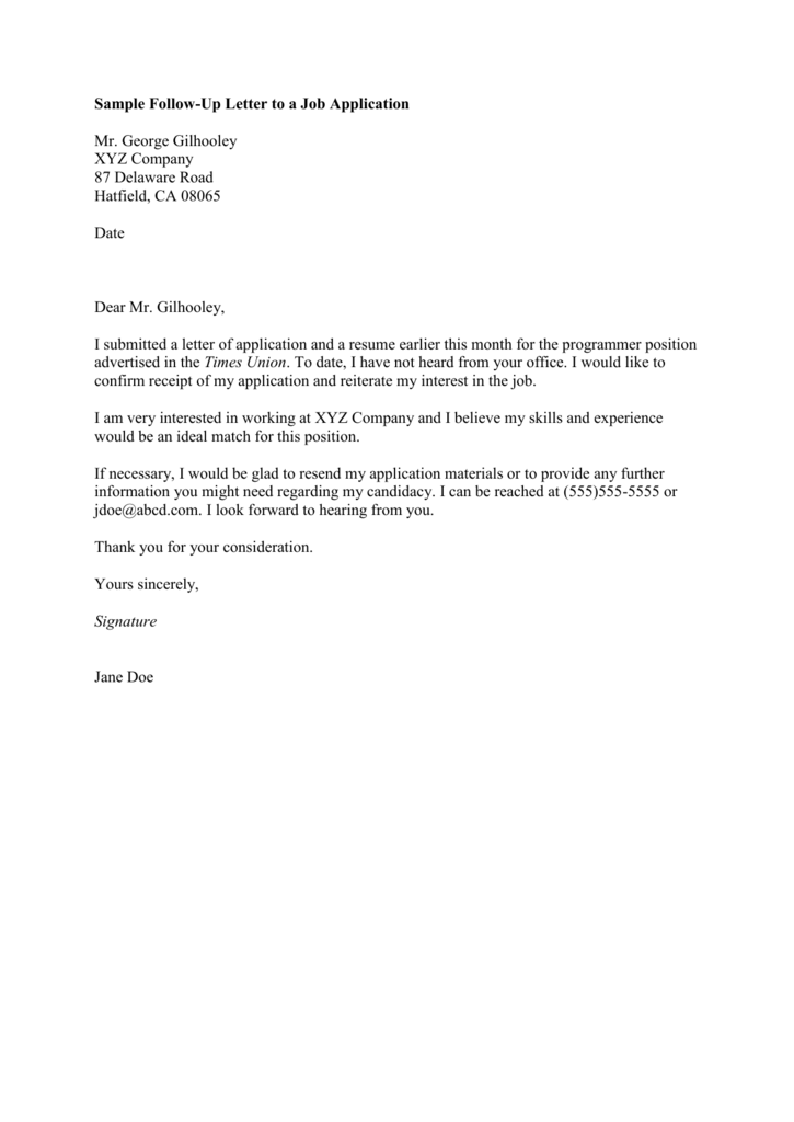 sample follow up letter to a job application mr george gilhooley
