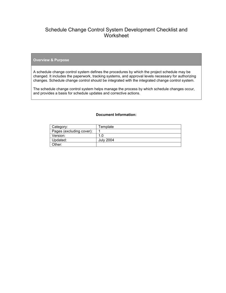 Schedule Change Control System Development Checklist and