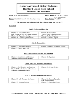 Honors Advanced Biology Syllabus