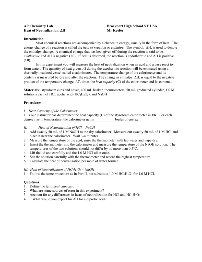 heat of neutralization rh studylib net