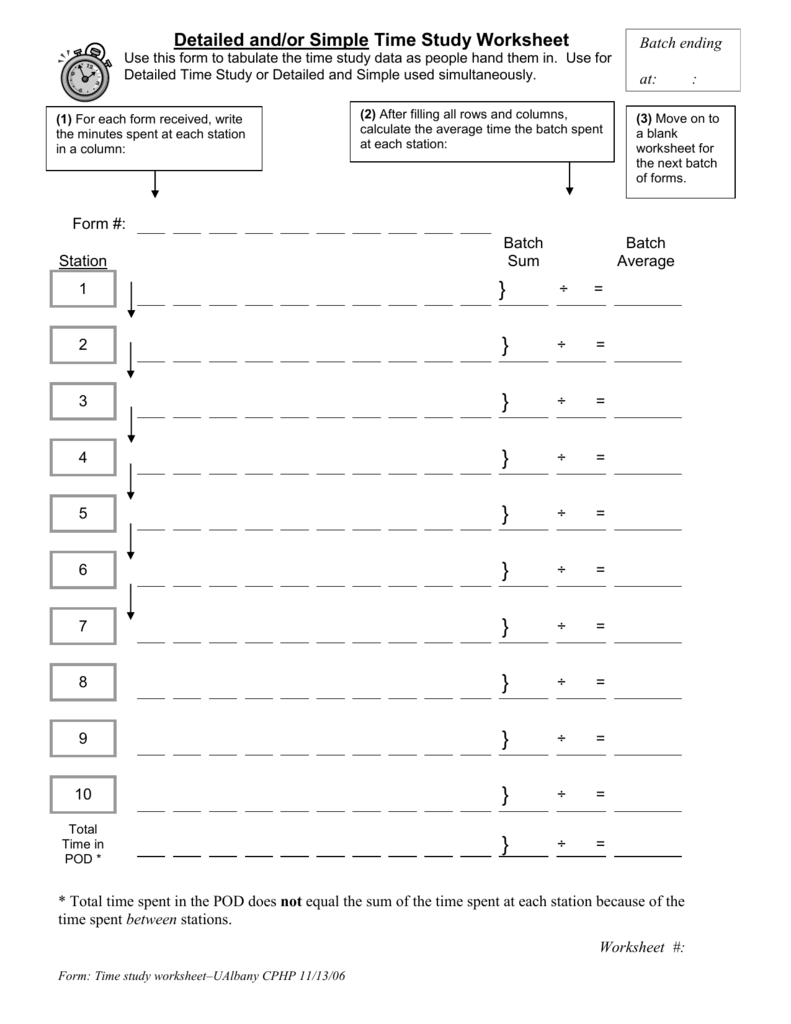 Detailed And Or Simple Time Study Worksheet