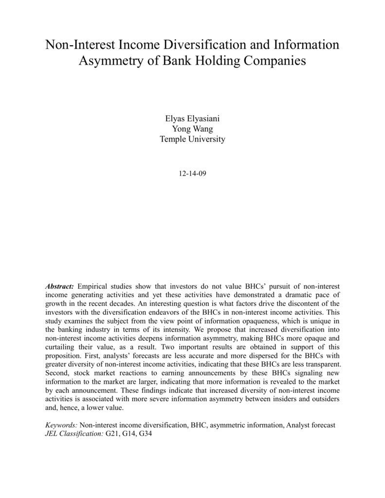 Noninterest Income and Information Asymmetry of Bank Holding