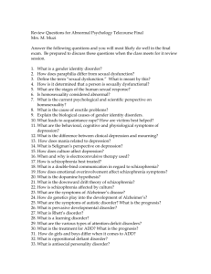 Review Questions for Abnormal Psychology Telecourse Final