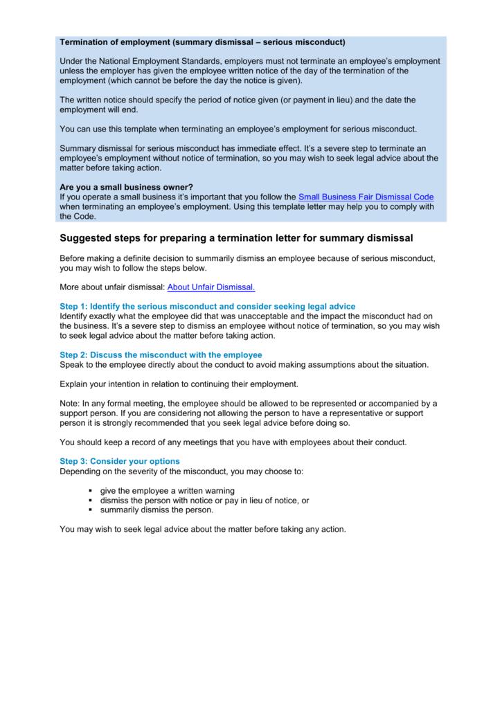 Termination of employment misconductsummary dismissal spiritdancerdesigns Choice Image