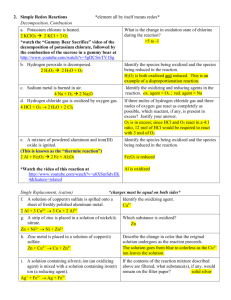KEY - Simple Redox Reactions (p. 8 of handouts