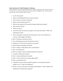 Study Questions for Edith Hamilton's Mythology, pp