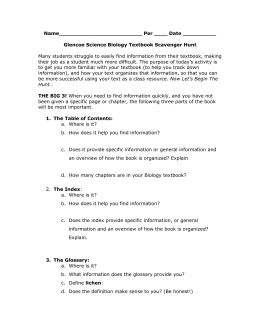 Pacemaker Biology Textbook Scavenger Hunt