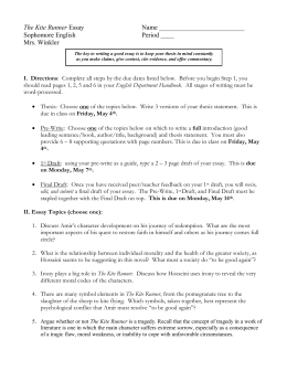 The Kite Runner Literary Essay Kite Runner Essay Topics High School Argumentative Essay Topics also Computer Science Essays  The Yellow Wallpaper Essay Topics