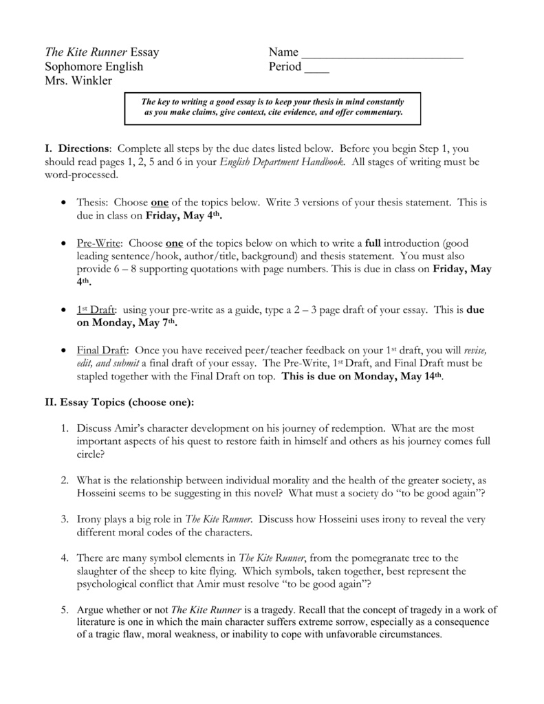 kite runner essay topics  research paper vs essay also essay papers online process essay thesis statement
