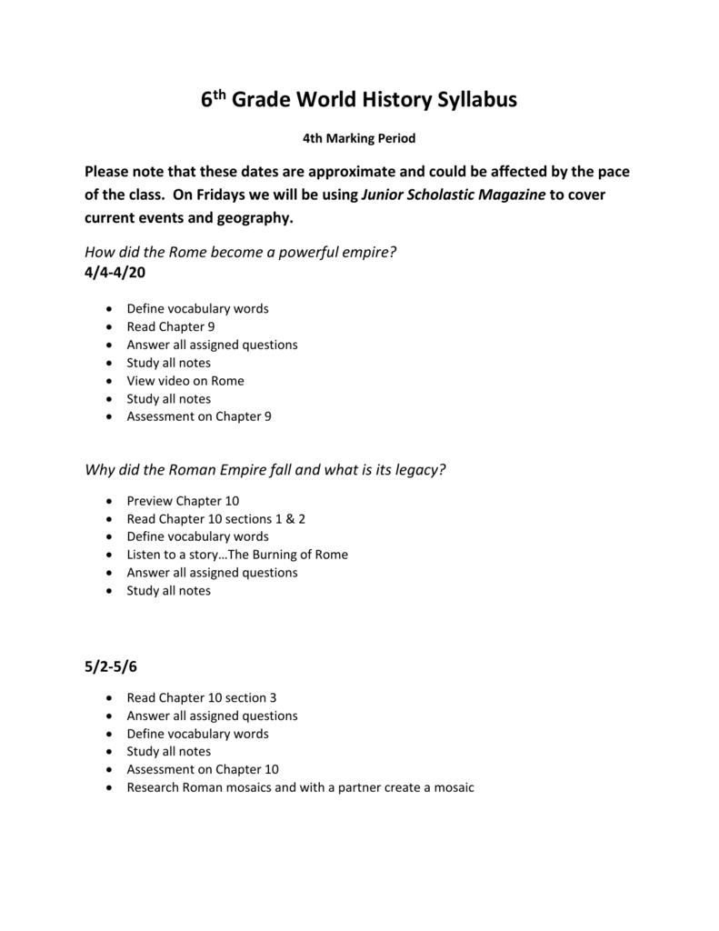 6th Grade World History Syllabus-