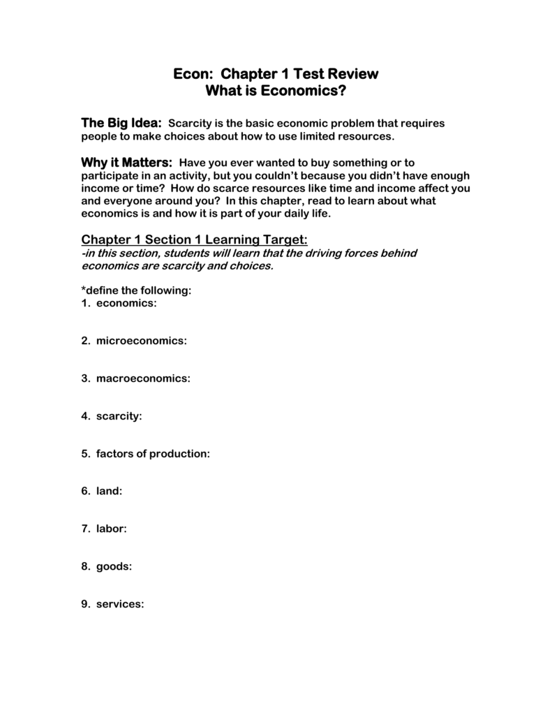 worksheet Scarcity And The Factors Of Production Worksheet Answers econ chapter 1 test review